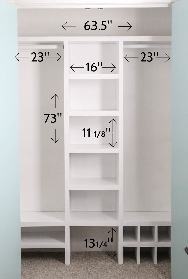 diy closet organizer with dimensions marked.