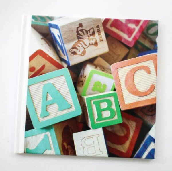 cover of abc photo book - a photo of alphabet blocks.