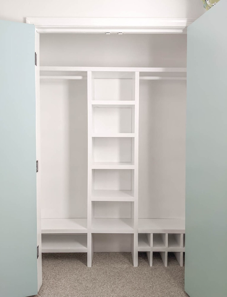 DIY Closet organizer for our small closet.