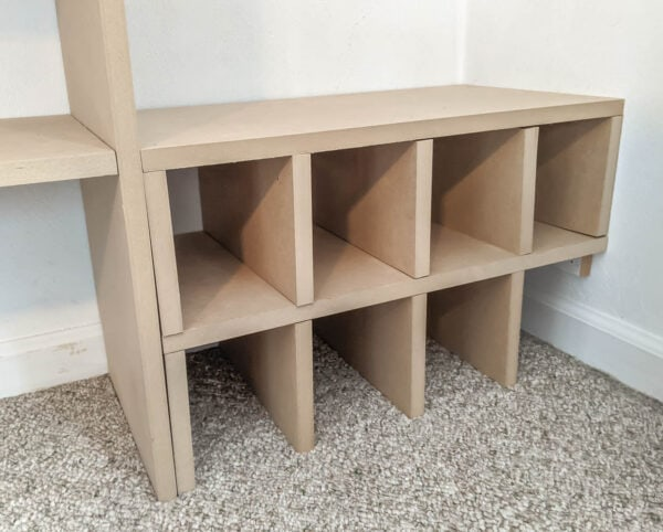 DIY shoe cubbies made from mdf.
