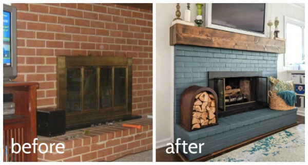 brick fireplace before and after a diy makeover.