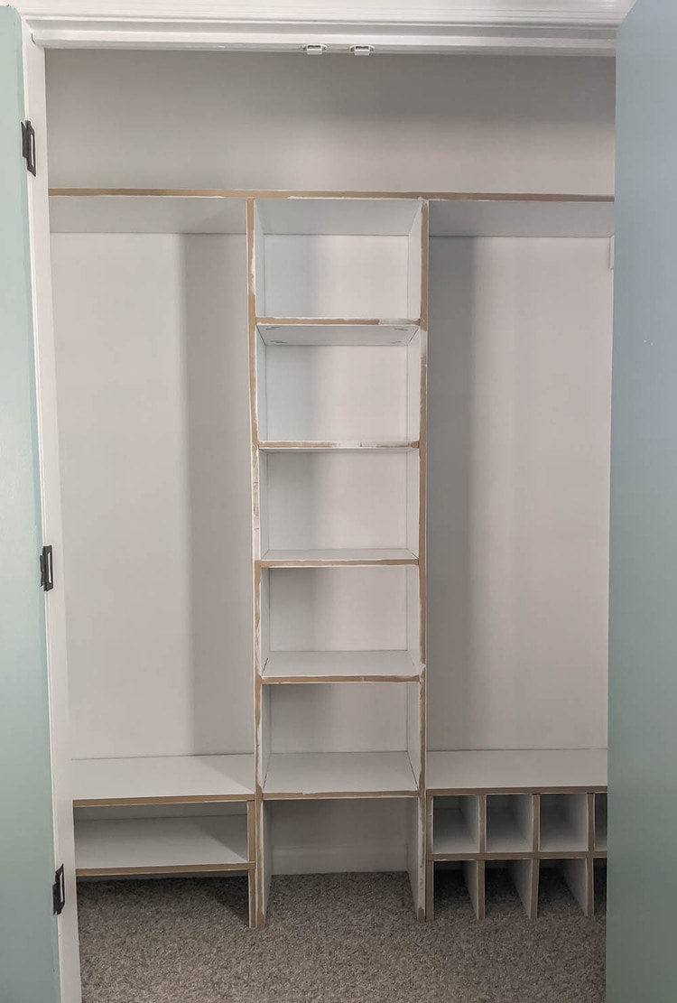 Main structure of diy closet organizer after paint.