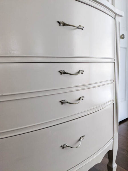 painted dresser with super smooth paint finish.