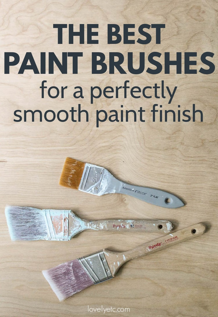three paintbrushes against a plywood background with the text - the best paint brushes for a perfectly smooth paint finish.