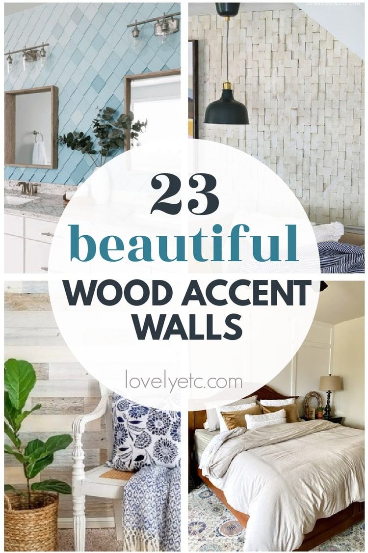 collage of wood accent walls.