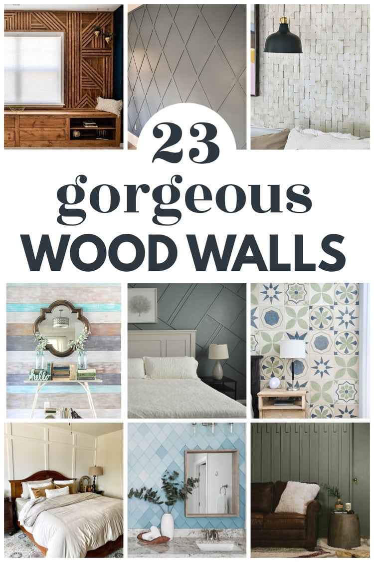 collage of gorgeous wood accent walls.