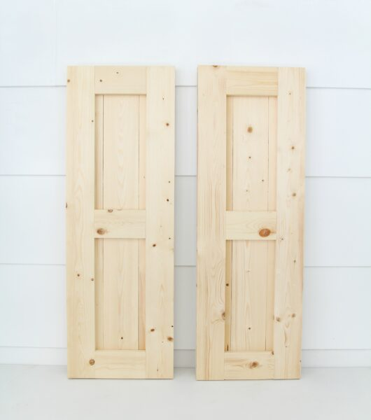 finished pair of DIY wood shutters.