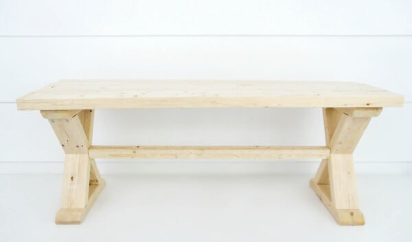 completed diy wood bench before paint and stain.