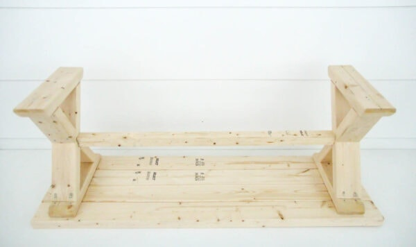 diy wood bench upside down to show underneath construction.
