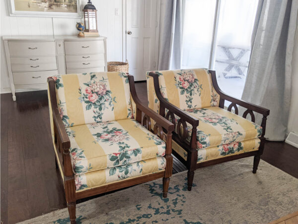 How To Reupholster Chairs A Simple, How To Reupholster A Chair With Wooden Arms