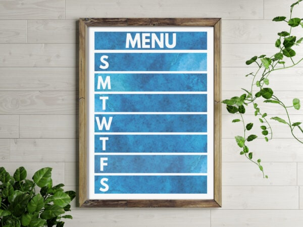 free printable weekly meal planner with dark blue watercolor background and white lettering. Framed to be reusable.