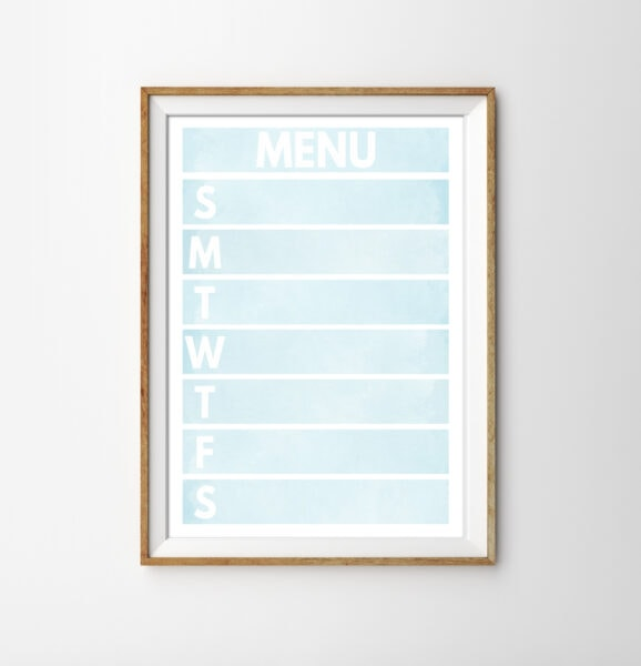 printable weekly meal planner with a light blue watercolor background in a gold frame.