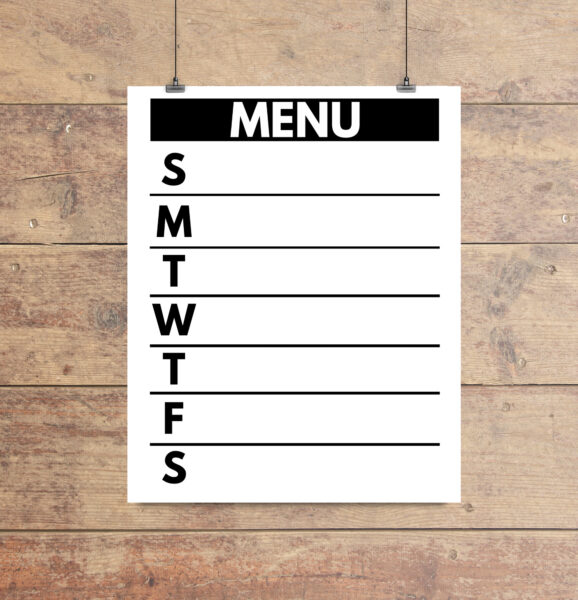 printable weekly meal planner with a clean black and white design.