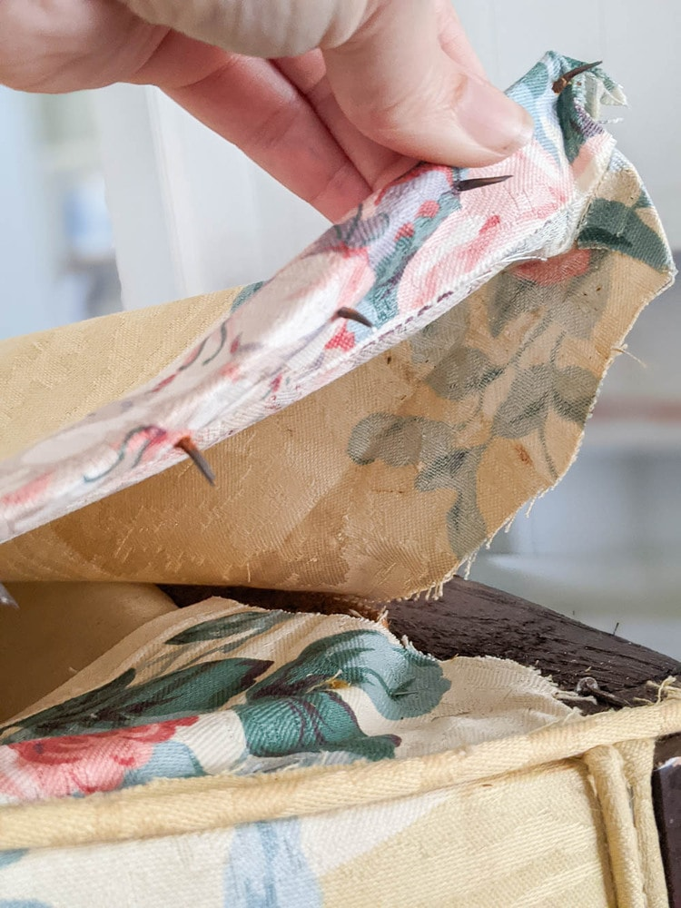 Removing old upholstery that was attached using tack strips.