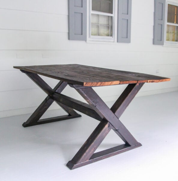 Completed DIY farmhouse table with X legs.