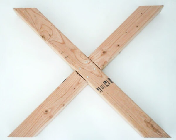X legs created using a lap joint and four screws.