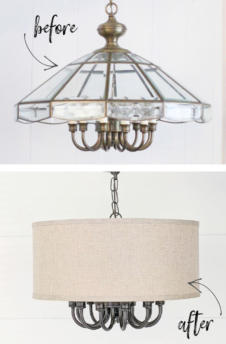 before and after of upcycled brass light fixture.