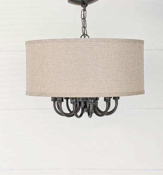 diy light fixture made from an old brass light fixture and a drum shade.