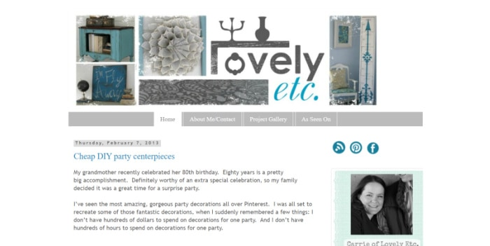 screenshot of the the blog design of Lovely Etc from 2013.