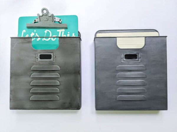 Two metal wall pockets painted to look like vintage metal.