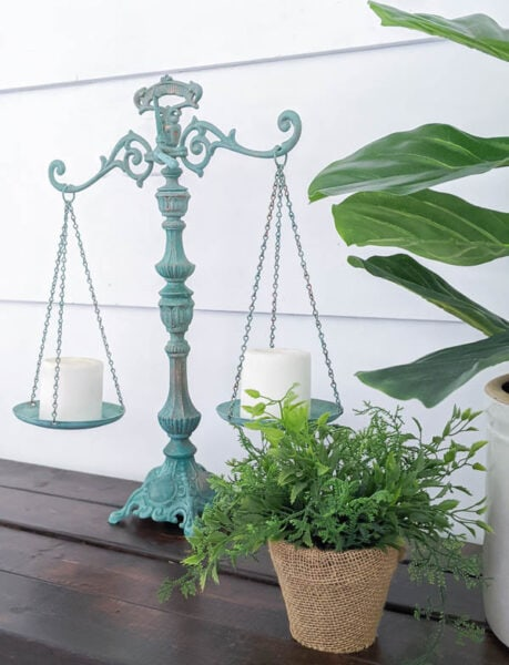 Vintage balance painted with a copper patina paint finish.