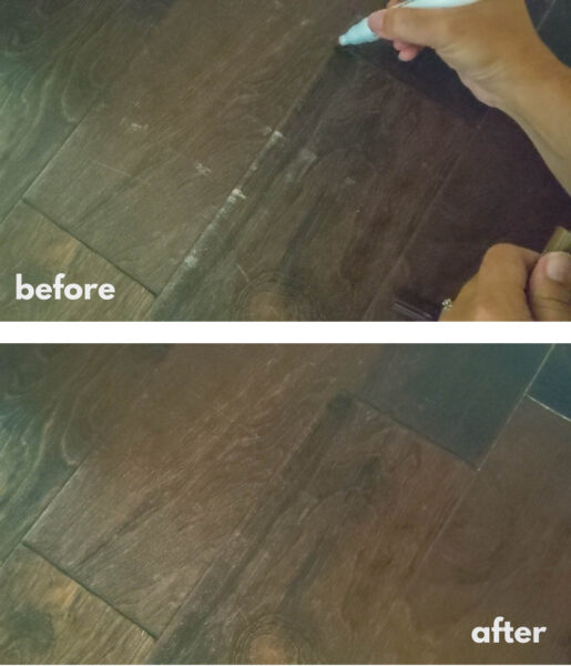 engineered wood floors before and after using a wood repair marker kit.