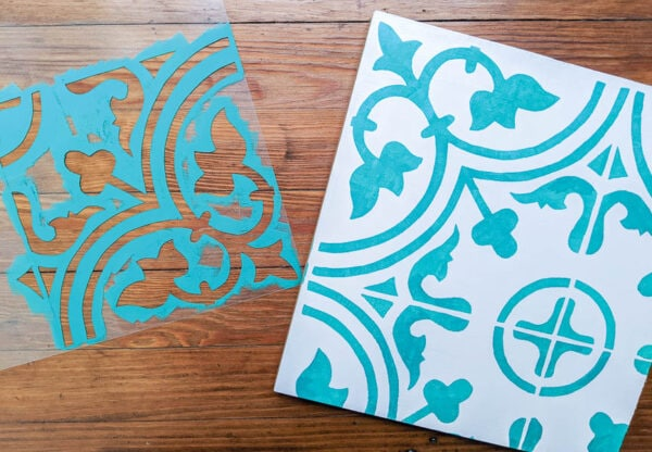 Finished DIY stencil next to stenciled sample board.