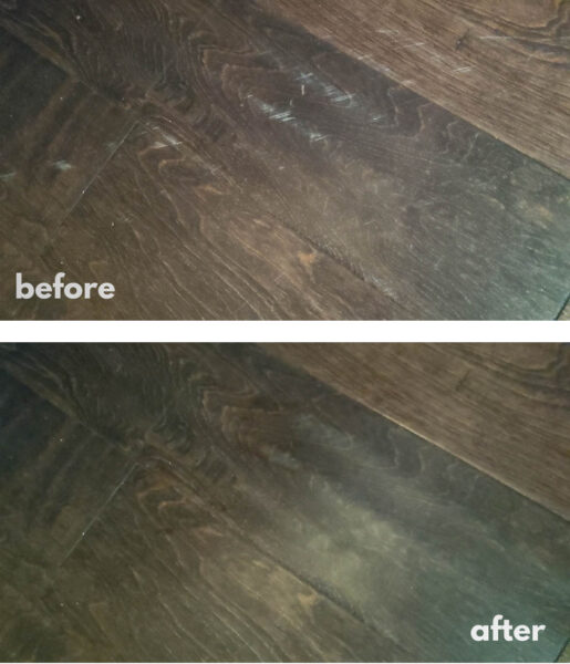 scratched wood floors before and after fixing the scratches.