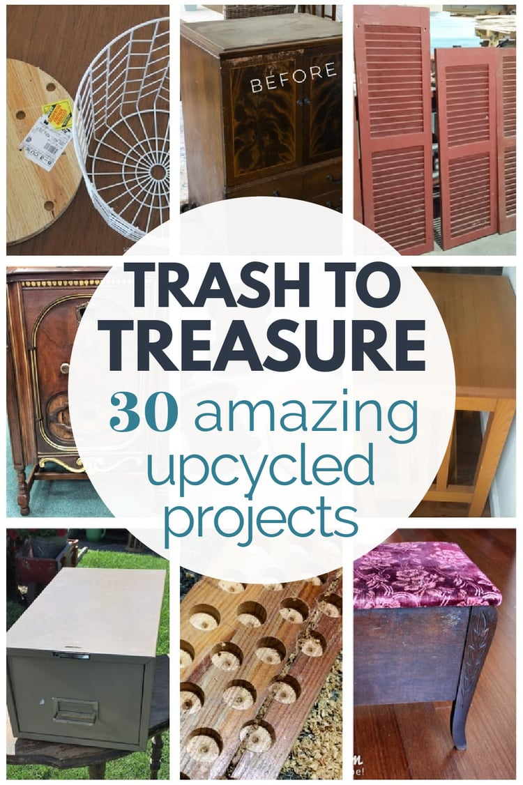 collage of trash to treasure projects before the makeover.
