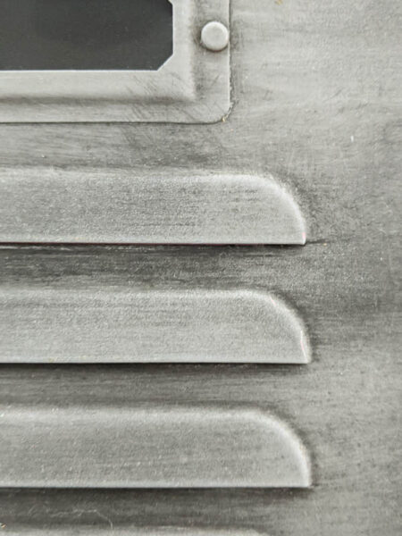 Close up of vintage steel paint finish.