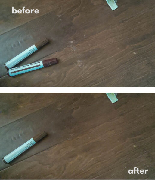 how to fix scratched wood floors - before and after photo.