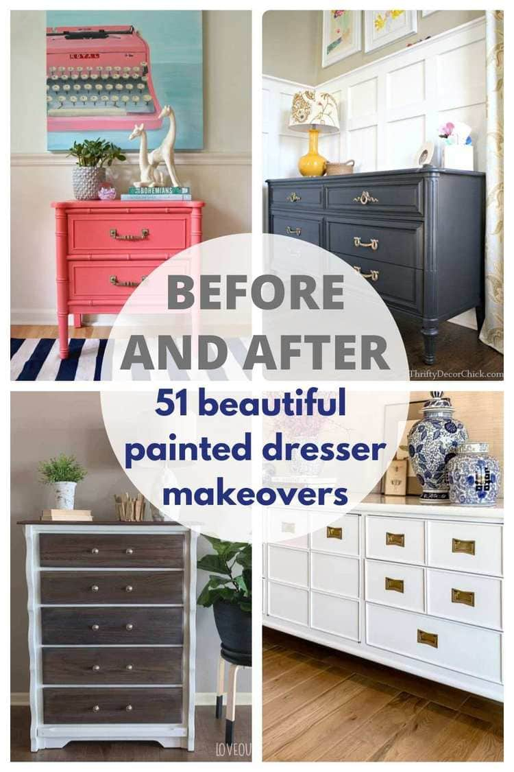 before and after painted dresser makeovers pin collage with text overlay