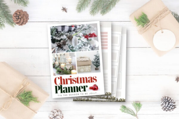 cover of printable Christmas planner and a few interior pages.