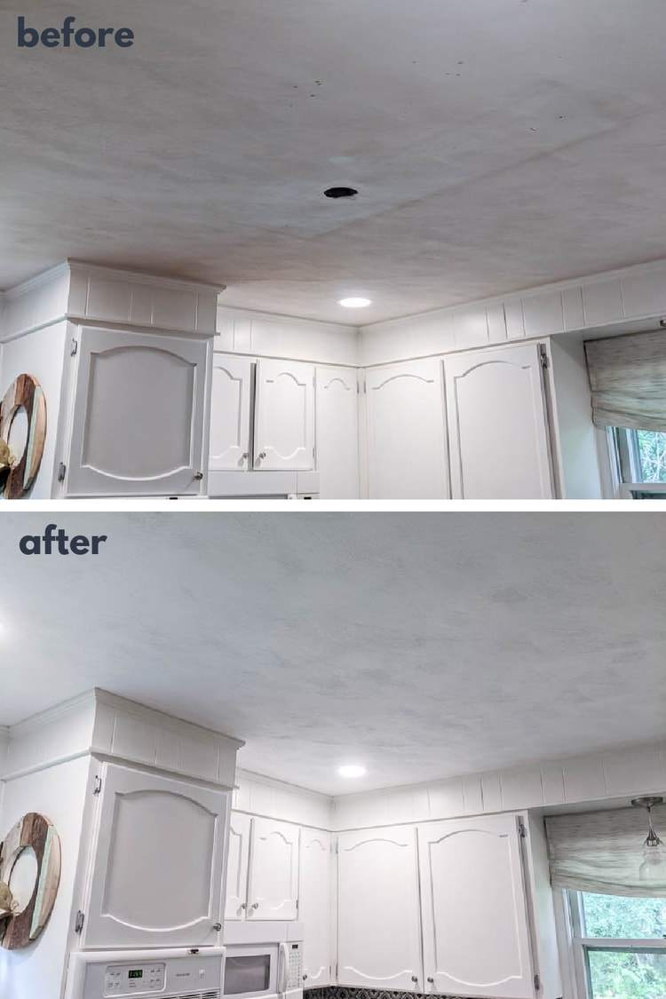 kitchen ceiling before paint next to same kitchen ceiling after fresh paint.